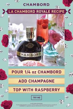 The perfect two-ingredient wedding cocktail for a signature drink or twist on champagne HOW TO MAKE A CHAMBORD ROYALE ¼ oz Chambord Liqueur Champagne Raspberry Pour Chambord into a flute glass. Top with champagne. Then plop. Finish with a raspberry. Wine Cocktails, Cocktail Drinks, Cocktail Recipes, Alcoholic Drinks, Beverages, Fancy Drinks, Summer Drinks, Chambord Liqueur, Chambord Cocktails