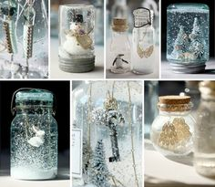 hand made snow globes, my bug would LOVE these!