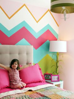 Original pinner said ... love the chevron wall for a girls room. It could be simple and cute enough to stay throughout her childhood and even teen years! I've been asking to paint my room very similar to this ! :)
