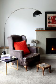 stucco fireplace + vintage + modern
