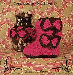 Crochet Baby Girl Boots Matching Headband Boots N by CopperSlay, $5.00