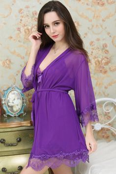 a3d15bf396 Affordable Beautiful Cute Pretty Luxurious Purple Violet Lace Nightgown  Nightie Sleepwear Chemise Dress Robe. For