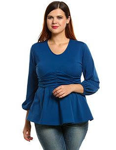 77e6ed5ba57 Meaneor Womens Plus Size Long Sleeve VNeck Ruched Tunic Top Blouse   To  view further for
