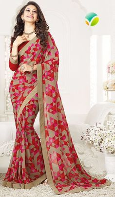 This Star chiffon saree  17251 is made of chiffon fabric and paired with matching unstitched blouse material.