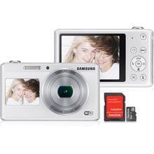 """Câmera Digital Samsung DV180 16.2 MP Zoom Óptico 5x Tela Traseira 2.7"""" e Frontal 1.5"""" Branca + Cartão de Memória Sandisk Micro SD 8GB + Adaptador"""