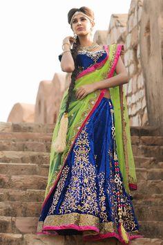 The Dual color lehanga dupatta stands out in this traditional lehanga choli personifying your look!  Buy this lehanga choli online: http://www.aishwaryadesignstudio.com/aishwarya%20exclusive%20lehenga/6404-mesmerizing-dark-blue-green-dual-fabric-lehenga-choli.aspx