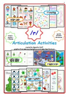 This /r/ Articulation Bundle includes picture cards, games and activities for initial, medial and /r/ blends in words, phrases and sentences:  * 18 Initial and 18 medial /r/ picture cards * 63 initial and medial /r/ blend picture cards * Duplicate set of picture cards with words * 9 initial and 9 medial /r/ loaded phrase picture cards * 18 /r/ loaded sentence picture cards * CV repetition worksheets (short & long vowels & diphthongs) * Dice articulation activity  * Feed the frog ...