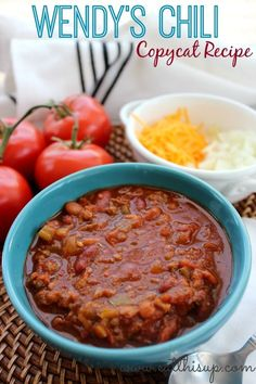 Copycat Wendy's Chili from eatthisup.com