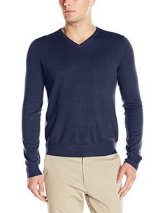 IZOD Men's Fine Gauge Solid Vneck Sweater, 100% cotton layer sweaters. All types of colors, NOW ON SALE.