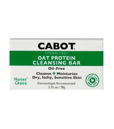 Cabot Oat Protein Cleansing Bar. Soothing Relief for Dry, Itchy, Sensitive Skin. Delivers the benefits of hydrolyzed oat proteins rich in phospholipids. Helps the skin maintain its natural balance. Free of fragrance, oil, parabens and dyes/colorants. Available at ProHealth.com ($5.00) #ProHealth