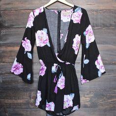 reverse - floral print black surplice romper - shophearts - 1