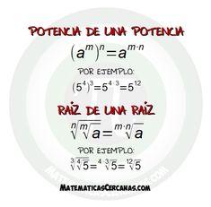 Potencia de una potencia y raíz de una raíz. La forma de calcularambas es muy parecida, pues en realidad estamos utilizando la misma propiedad. Algebra, Diy Gift For Bff, Math Tutorials, Math Formulas, Study Organization, Simple Math, Free Math, Math Resources, Tips