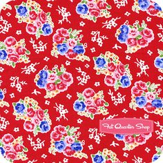 Pam Kitty Morning for Lakehouse Dry Goods   Pam Kitty Morning Red Bouquet Yardage SKU# LH11003-RED - Fat Quarter Shop