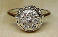 Vintage Antique .24ct Old Mine Cut Diamond 14k White Gold Engagement Ring 1920's Art Deco Filigree Cluster by DiamondAddiction on Etsy