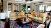 Family room in golds and grays