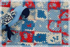 Baby Blanket, Baby Boy Blanket, Newborn Blanket, Baby Shower Gift, Blue Red White Baby Blanket, Cotton Baby Blanket