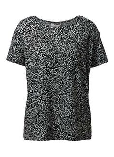 100% Cotton Animal Print Tee. Comfortable fitting silhouette features a scoop neck and rib with short sleeves in an all over Animal print. Available in Animal as seen below.