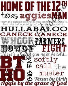 Texas A&M subway art - cute to print and frame!