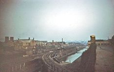 An elevated view of Harborne Junction taken from Northbrook Street showing the overbridge carrying the branch over the canal
