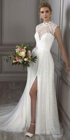 208.99  Romantic Lace Illusion High Collar A-line Wedding Dress With  Sequins   Belt. Vestiti Da ... 36de192e221