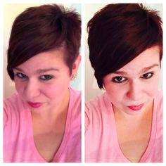 Garnier intense burgundy for darker hair. Side cut.