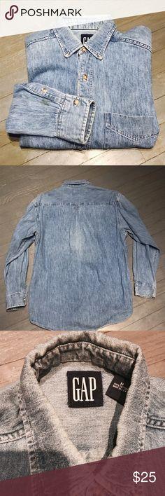 GAP tab collar pocket Jean Denim button down shirt Vintage GAP tab collar pocket Jean Denim button down shirt GAP Shirts Casual Button Down Shirts