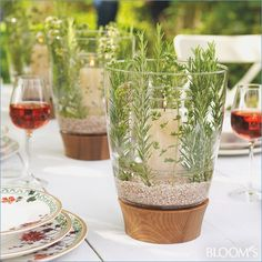 Mediterranean table decoration for the garden party - event ideas / decoration / event planning / event ideas & event posters - Gartendekoration - Dekoration Evergreen Herbs, Wood Trellis, Wood Mantle, Mediterranean Decor, Wood Working For Beginners, Deco Table, Decoration Table, Fireplace Decorations, Decorating Small Spaces
