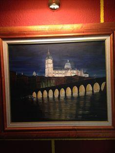 Vista de Salamanca con catedral y puente romano