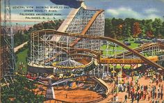 General View, showing Bobsled and other novelty rides, Palisades Amusement Park, Palisades, NJ