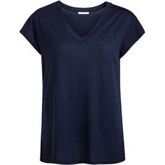 PIECES V-Neck T-Shirt (335 MXN) ❤ liked on Polyvore featuring tops, t-shirts, navy blazer, navy blue t shirt, oversized t shirts, blue t shirt, short sleeve tees and short sleeve v neck tee