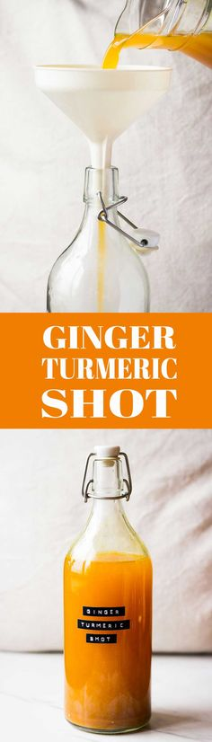 Turmeric Ginger Shot! A home remedy for flu's and colds and a great way to start your day with! #ginger #turmeric #homeremedy #healthy