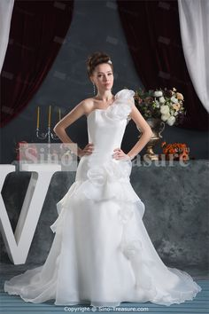 White Pear One-shoulder Court Train Summer A-line Wedding Dresses -Wedding & Events-Wedding Dresses-A-line Wedding Dresses US$261.99