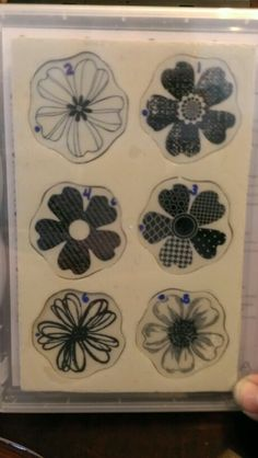 """How I marked my Stampin Up """"Flower Shop"""" stamps to match up with my """"Pansy"""" punch and fit quickly back into my storage case."""