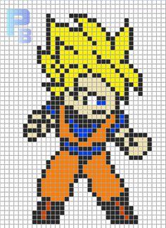 Goku DBZ perler pattern - Patrones Beads / Plantillas para Hama