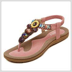 Oriskey Damen Sommer Bohemian Schuhe Zehentrenner Flach Sandalen Mädchen Slingback Sandaletten - Sandalen für frauen (*Partner-Link)