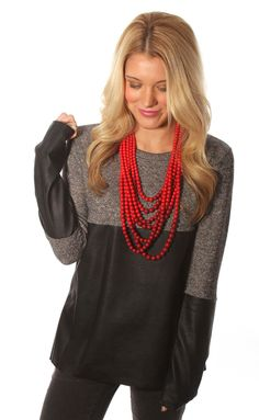 leather queen sweater � black I LOVE this top with the accent necklace!  #ShopRiffraff