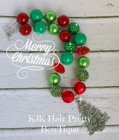Classic Christmas Color Tree Necklace for Girl's