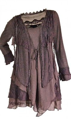 PLUS SIZE Layered Vintage Blouse In Mauve at Styles2you.com