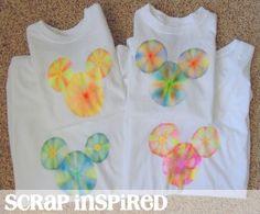 Tie Dye Hidden Mickey shirts using SHARPIE's and RUBBING ALCOHOL. - http://scrapinspired.com/2012/11/diy-disney-shirts-magic-kingdom-day-2/