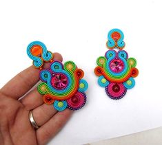 Unique Colorful Long Clip On Earrings Fashion Handmade Soutache Earrings with Crystals I Love Jewelry, Wire Jewelry, Boho Jewelry, Jewelery, Unique Jewelry, Soutache Necklace, Tassel Earrings, Clip On Earrings, Quilling Designs