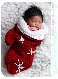 Knit Crochet Newborn Baby Mitten Cocoon or Christmas Stocking Red  Snowflakes Photo Prop