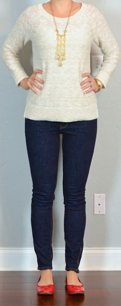 outfit post: canvas slub sweater, rockstar skinny jeans, red ballet flats | Outfit Posts