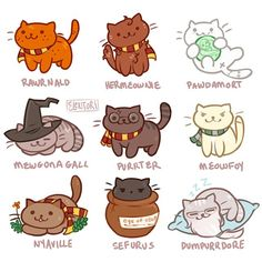 Harry purrter! These will be up on tumblr later :3 When in art block, draw cute things and make bad puns. #harrypotter #nekoatsume #dracomalfoy #ronweasley #hermoniegranger #voldemort #minervamcgonagall #nevillelongbottom #severussnape #albusdumbledore #digitalart #cute #cat