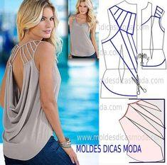 Passo a passo transformação do molde de blusa. Para fazer este modelo de blusa imprima o molde base de blusa e faça a gradação para o seu tamanho. Depois de obter o seu tamanho de molde base siga o tu
