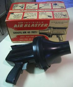 """The Whammo Air Blaster fired a highly-compressed blast of air. Harmless enough, unless you put it in your mouth, or close to your face. BTW-this is the """"ray gun"""" featured in """"Santa Clause Conquers the Martians."""""""