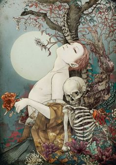Illustration by Takato Yamamoto Art And Illustration, Illustrations, Japanese Illustration, Ero Guro, Inspiration Art, Art Inspo, Fantasy Kunst, Fantasy Art, La Danse Macabre