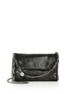 Stella McCartney - Falabella Metallic Faux Suede Chain Clutch