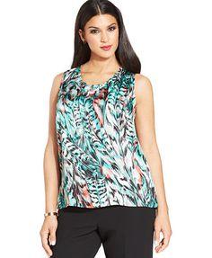 Kasper Plus Size Sleeveless Printed Top