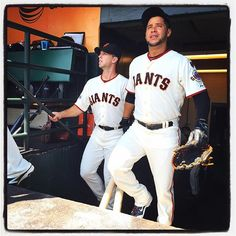 Buster and Gregor enter the dugout at #attpark. Photo by @punkpoint