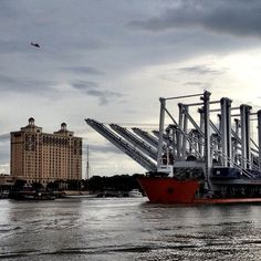 This massive cargo ship is coming down the #Savannah River to deliver new cranes for the Port of Savannah!   Visit Savannah